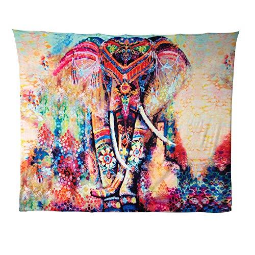 Demana Psicodélico Elefante Tapicería Floral Tapiz Hippie Mandala Tapices Gitano Bohemio Tradicional Colgante Decoración de Pared,150x130cm (Style 1)