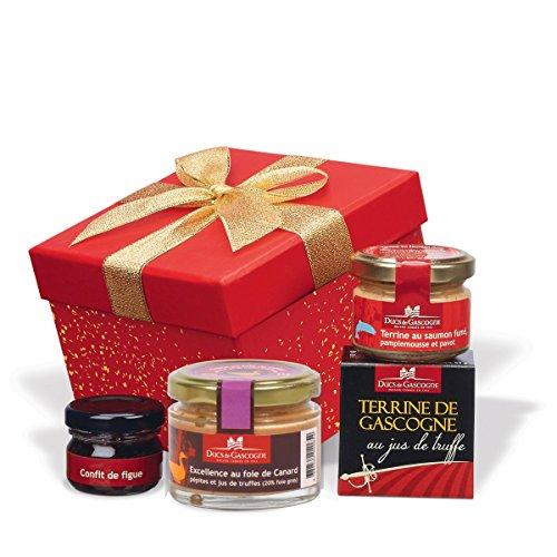 Ducs de Gascogne - Petit cadeau gourmand'Carré rouge' - comprend 1 spécialité au foie gras et 3 produits d'épicerie fine – Idéal 1 pers. 956761