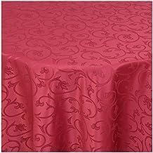 MODERNO Barock Tischdecke Oval 140x190 Cm Im Damast Stil Farbe Wein Rot