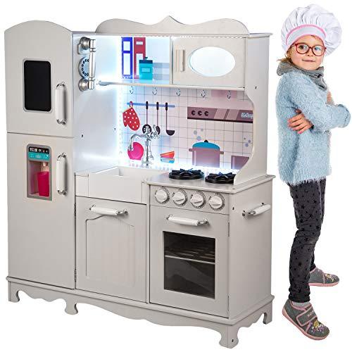 Kinderholzküche Kinderküche Holzküche Kinderspielküche Weiss Spielzeugküche LED GS0053 Spielküche mit Schränken aus Holz extra große Holzküche Kinder Spielzeug aus Holz Spülbecken mit Wasserhahn ...