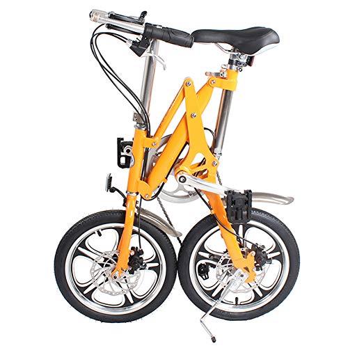 LHLCG Vélo Pliant de Frein à Disque de Changement d'alliage d'aluminium de Bicyclette de 16 Pouces,Orange