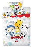 Fisher Price Giggle parure, linge de lit bébé, housse de couette 135 x 100 cm + taie d'oreiller 40 x 60 cm Idée déco chambre bébé (FP-03)