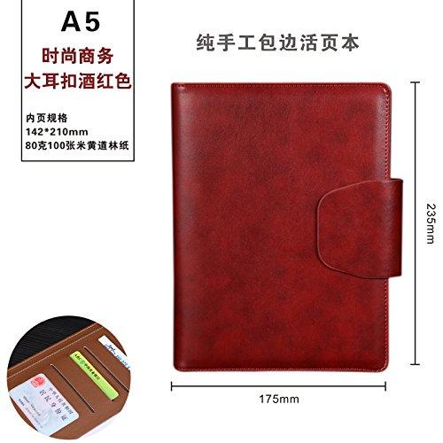 WRITIME Notizbuch Rotwein Loose-leaf Notebook Business Notebook Schreibwaren 6-Loch-Clip Dieses A5-Hand Notebook Tagebuch benutzerdefinierte Logo