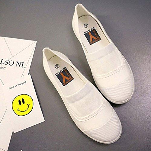 Y-BOA Chaussure Bateau Femme Canevas Casuel Mocassin Ville Loafers Ballerine Basse Voyage Été Blanc