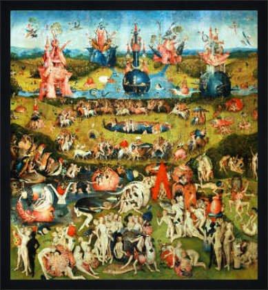 """Bild mit Rahmen: Hieronymus Bosch, """"Der Garten der Lüste"""", 61 x 66 - Holz Fortuna L: Schwarz matt"""