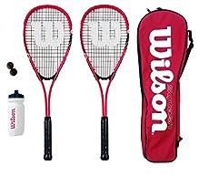 Wilson Hyper Team 500 - Conjunto de squash (2 raquetas, 3 pelotas, bolsa y botella) - Tamaño de la cabeza - 497 cm cuadrados - Balance - 31cm - El juego contiene 2 Wilson hiper equipo de 300 raquetas de squash de color rojo, una bolsa llena de longit...