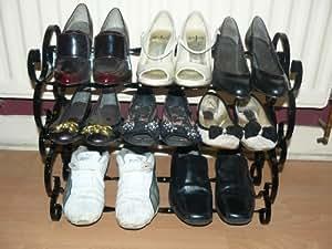 Étagère à chaussures organiseur de rangement 9Paire défile en fer forgé