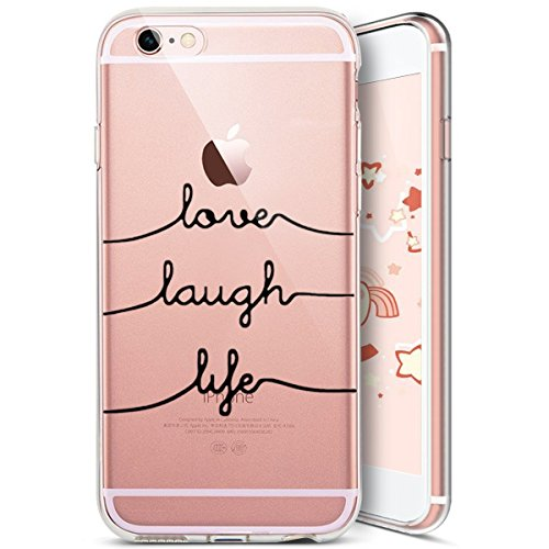 iPhone 6S Custodia Silicone, iPhone 6 Cover Trasparente, JAWSEU Gatto Carino Creativo Disegno Protectiva Bumper Cristallo Chiaro Custodia Cover per Apple iPhone 6/ 6S Case Caso Luminoso Ultra Sottile  Lettere creative #5