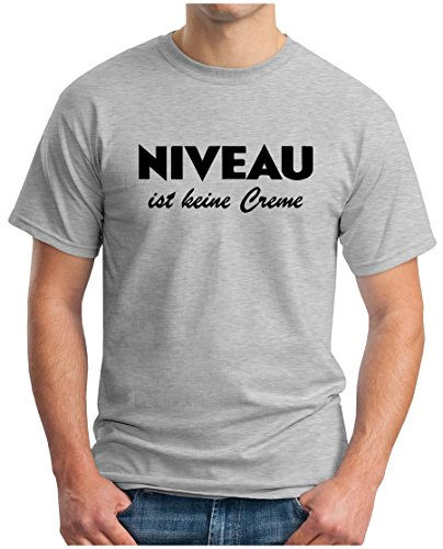 OM3 - NIVEAU ist keine Creme - T-Shirt FUN KULT MALLE KOSMETIK PFLEGE EMO, 5XL, Grau Meliert