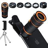 Handy Kamera Lens Kit, 6in 1Universal 12x Zoom Teleobjektiv + 0,62x Weitwinkel & 20x Makro Objektive + 235° Fisheye Objektiv + Starburst Objektiv + CPL + Halterung + Stativ für iPhone X/8/7/6/6S Plus Samsung Android und die meisten...