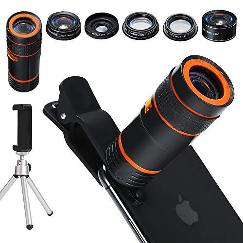 Handy Kamera Lens Kit, 6in 1Universal 12x Zoom Teleobjektiv + 0,62x Weitwinkel & 20x Makro Objektive + 235° Fisheye Objektiv + Starburst Objektiv + CPL + Halterung + Stativ für iPhone X/8/7/6/6S Plus Samsung Android und die meisten Smartphone
