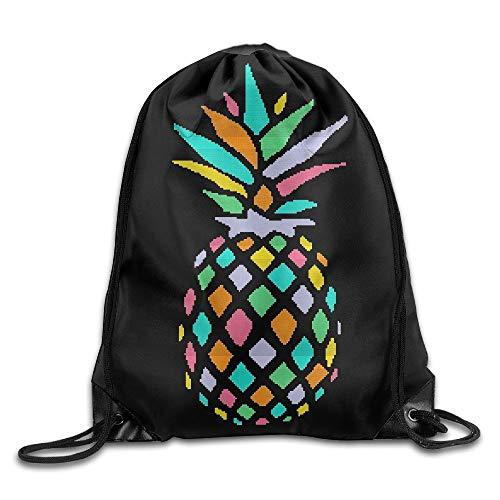 HLKPE Rainbow Mosaic Pineapple Cool Drawstring Backpack String Bag