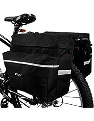 Bolsa BV para bicicleta, alforja para bicicleta con ganchos ajustables, asa de transporte, tira 3M reflectante y bolsillos grandes