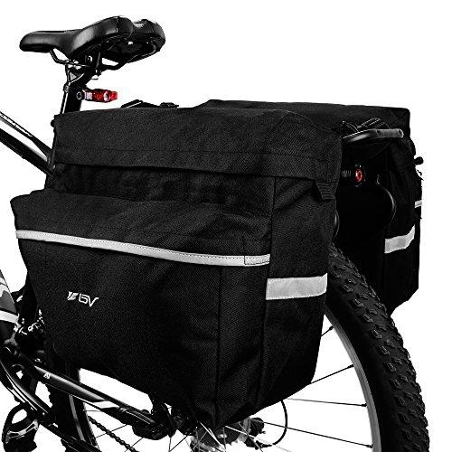 BV Bike Bag Fahrrad-Packtasche mit verstellbaren Haken, Tragegriff, reflektierender 3M-Rand und große Taschen (Motorrad Rack-haken)