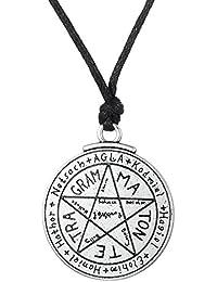 Wicca Amult Key of Solomen Talisman lettres de l'alphabet Motif pentagramme Pendentif Collier