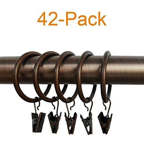 Alytimes 42-pack Cuivre Anneaux de rideaux en métal avec clips (3,8cm, Cuivre)