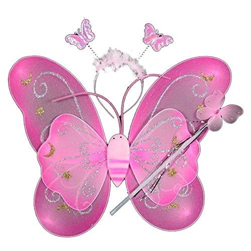 Jeu de la Fée de 3Pcs Clip Papillon Epingle de Style Stick Magique Bandeau Accessoires de Maquillage Party Cosplay pour Petite Fille rose