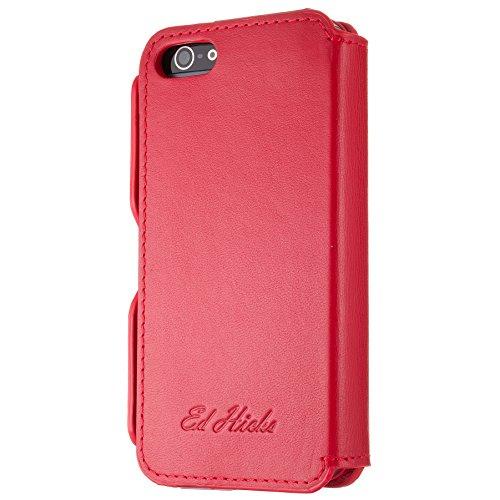 Schutzhülle Case + Tasche Echtes Leder Slim Hülle Brieftasche für das iPhone 6 6S - Risevon Ed Hicks - Geprägt Dunkelgrau Geprägt Rot