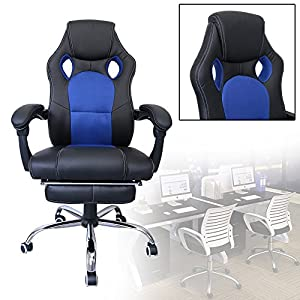 51wtV5 8GoL. SS300  - HG-Office-Silla-giratoria-Silla-para-juegos-Premium-Comfort-Apoyabrazos-acolchados-Silla-de-carreras-Capacidad-de-carga-200-kg-Altura-ajustable-negro-azul