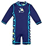 Baby-Badebekleidung langärmliger Einteiler mit UV-Schutz 50+ und Oeko-Tex 100 Zertifizierung in blau; Größe 74/80