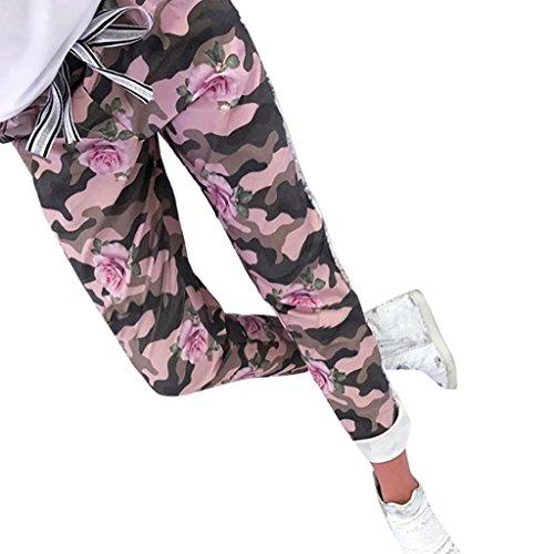 Damen Hosen Sommer LHWY Mode Frauen Camouflage Hosen Lang Print Verband Patchwork Schlanke Freizeithosen Teens Mädchen Elegante Hosen im Freien (M, Pink)
