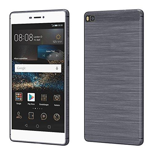 Brushed Cover für Huawei P8 Schutz Hülle TPU Case Schutzhülle Silikon Cover Tasche in Anthrazit