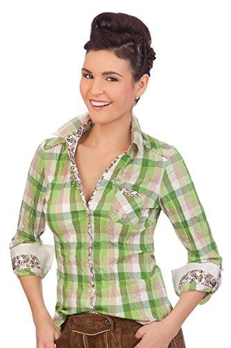 Trachten Bluse Crashoptik, langer Arm - BEAT - blau, grün, Größe 36