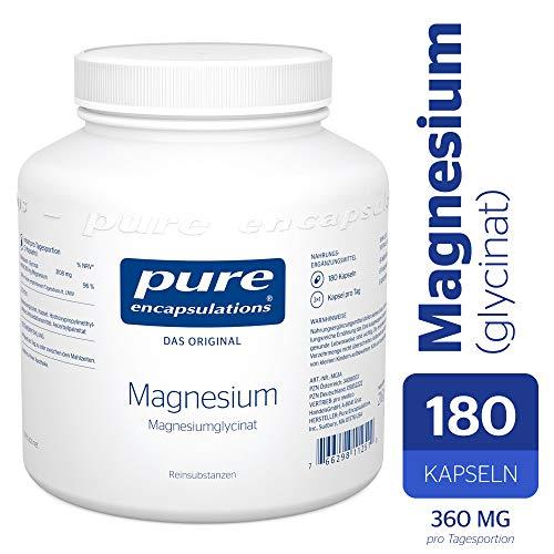 Pure Encapsulations® - Magnesium (Glycinat) 120mg - Bioverfügbares Magnesiumchelat Nahrungsergänzungsmittel bei Müdigkeit & Erschöpfung - 180 Veg. Kapseln