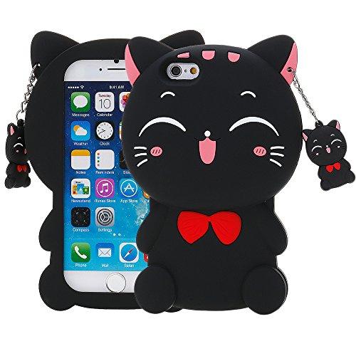HuntGold Niedlich Glücklich Lächelnd Katze Weiche Silikon Schutzfolie Hülle für das iPhone 6 Plus / 6S Plus Schwarz