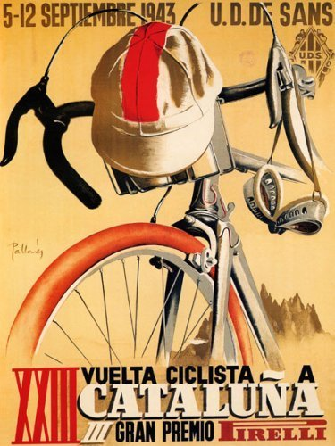 BICYCLE RACE BIKE CYCLES CATALUNA GRAN PREMIO 1943 SPORT SPAIN LARGE V