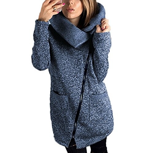 Hibote Mujeres Talla Grande Casual Zip Up Fleece Prendas