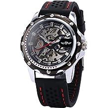 AMPM24 PMW081 Reloj Hombre Esqueleto Mecánico Automático, Correa de Silicona Negra