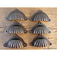 Set di 6 maniglie per cassettone a forma di conchiglia,