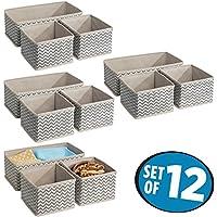 mDesign Juego de 12 cajas organizadoras en tela - Organizadores para armarios o cajones - Caja para organizar ropa y armarios - Ocho cajas pequeñas y cuatro grandes - topo/natural