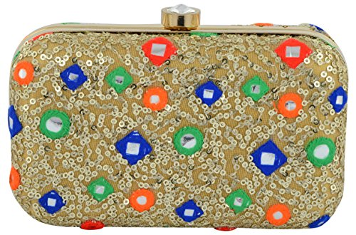 Tooba Handicraft Party Wear Hand Embroidered Box Clutch Bag Purse For Bridal, Casual, Party , Wedding ( gold khichdi mirror 6x4)  available at amazon for Rs.735