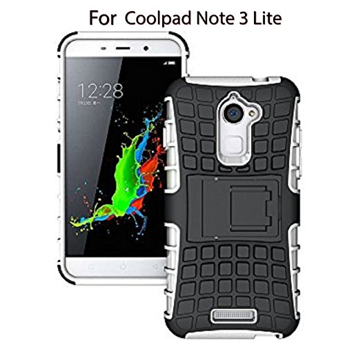 Heartly Flip Kick Stand Spider Hard Dual Rugged Shock Proof Tough Hybrid Armor Bumper Back Case Cover For Coolpad Note 3 Lite 5 Inch - Best White