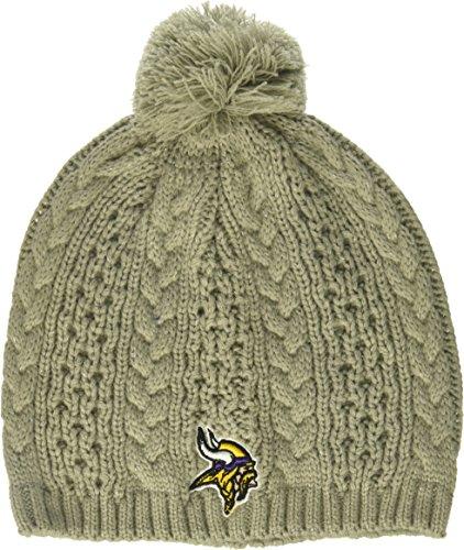 Sherpa Baumwolle Hut (NFL Damen Valerie OTS Beanie Knit Cap mit Pom, Damen, Damen, NFL Women's Valerie OTS Beanie Knit Cap with Pom, Women's, grau, Women's)