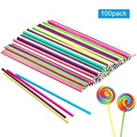 Kissral 100 Pcs Cake pop Sticks,Pastal Colours Paper Lollipop Sticks Candy Sticks for DIY Craft Project Decoration