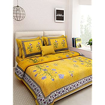 3446a11ea81 Rajasthan Decor Screen Block Print Rajasthani King Size Bed sheet with 2  pillow cover