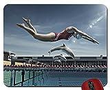 Frauen Fisch Delfine schwimmen Pools photomanipulation swimware 2020x 1070Tapete Maus Pad Computer Mauspad