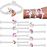 Unicorn Bracelet, Yilianda 5Pcs Unicorn Wristband Rubber Bracelet for Children Birthday Party Supplies Favor Gift