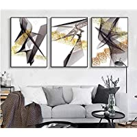 Tanyang Modern Gold Foils Black Decorative Canvas Abstract Lines Poster Canvas Nordic Wall Art Print For Room Bedroom Unframed Art