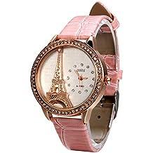 Avaner Rosa Reloj para Mujer La Torre Eiffel Con Diamantes Reloj de Pulsera para Chica, Diseño Vintage Romantico Regalo Para Navidad San Valentín