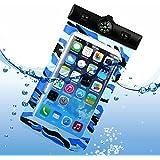 NOVAGO® Funda Impermeable para iPhone 6 Plus, 6 , 5, 5G, 4, 4S, 3G, 3GS / Samsung Galaxy S6, S5, S4, S4 , S4 Mini, S3, S3 Mini, S2 , Galaxy Note 4, Note 3, Note 2, Note , Sony Xperia Z4, Z3 ,Z2 ,Z1, LG G3, LG G2 (camuflaje azul)