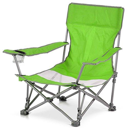 Bakaji spiaggina sedia da spiaggia campeggio pieghevole ad ombrello solida struttura tubolare in ferro con braccioli e portabibita colore verde dimensioni 65 x 86x h 69 cm