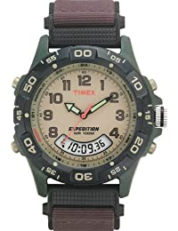 Timex Expedition Men's T45181 Quartz Watch with Beige Dial Analogue Display and Brown Nylon Strap