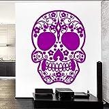 Cmdyz Entwickelt Tattoo Gesicht Zucker Schädel Vinyl Ll Wandbild Kreative Kunst Ll Aufkleber Home Room Decor Blumenmuster Ll Wandbild 43 * 58Cm