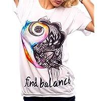 GRMO Women's Print Summer Crewneck Slim Fit Fashion T-Shirt Top Blouse 1 4XS
