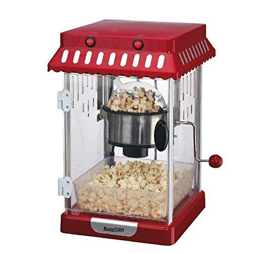 Eurosan PR Popcornmaschine, Retro Design, Heißluft, Geschenkbox, Rot/Weiss