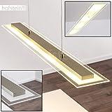 LED Pendelleuchte BUNKEN aus Metall Nickel matt – Länglich Esszimmerlampe - Höhe der Leuchte ist auf bis zu maximal 120 cm einstellbar